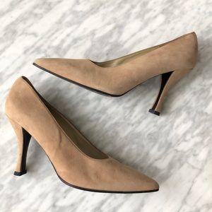 Charles Jourdan beige suede heels